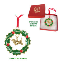 Basset Hound Gold Plated Bronze Christmas Holiday Wreath Ornament Decoration Gift