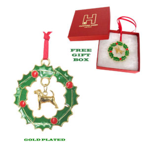 BEAGLE Gold Plated Bronze Christmas Holiday Wreath Ornament Decoration Gift
