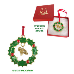 Bichon Frise Gold Plated Bronze Christmas Holiday Wreath Ornament Decoration Gift