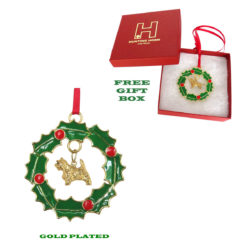 CAIRN TERRIER Gold Plated Bronze Christmas Holiday Wreath Ornament Decoration