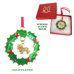 CAVALIER KING CHARLES Gold Plated Christmas Holiday WREATH Ornament