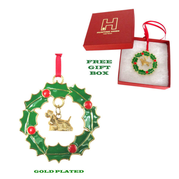 COCKER SPANIEL Gold Plated Bronze Christmas Holiday Wreath Ornament Decoration Gift