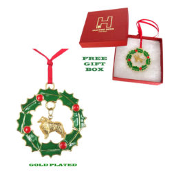 COLLIE Gold Plated Bronze Christmas Holiday Wreath Ornament Decoration Gift