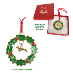 DACHSHUND (Smooth) Gold Plated Bronze Christmas Holiday Wreath Ornament Decoration Gift