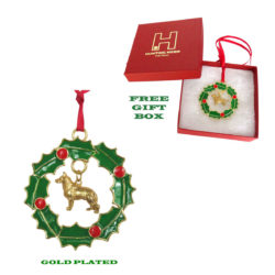 German Shepherd Gold Plated Bronze Christmas Holiday Wreath Ornament Decoration Gift