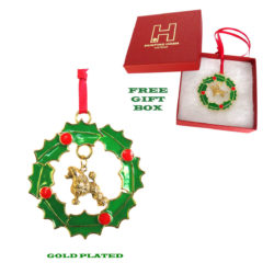 POODLE Gold Plated Bronze Christmas Holiday Wreath Ornament Decoration