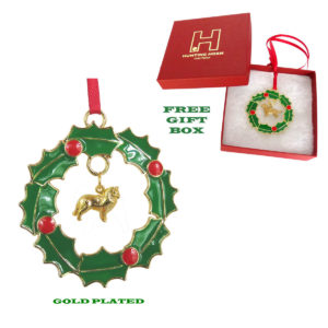 SHETLAND SHEEPDOG - SHELTIE- Gold Plated Christmas Holiday WREATH Ornament -SUPPORTING RESCUE !