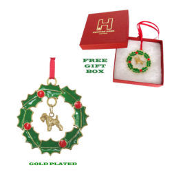 Soft Coated Wheaten Gold Plated Bronze Christmas Holiday Wreath Ornament Decoration Gift