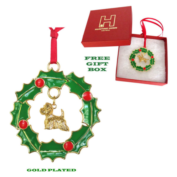WEST HIGHLAND WHITE TERRIER Westie Gold Plated Bronze Christmas Holiday Wreath Ornament