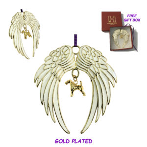 AIREDALE TERRIER Gold Plated ANGEL WING Memorial Christmas Holiday Ornament