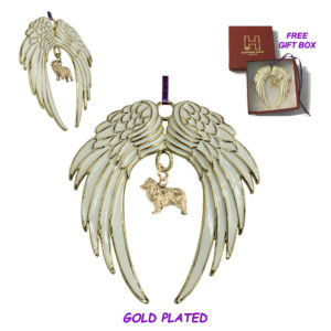 AUSTRALIAN SHEPHERD A Gold Plated ANGEL WING Memorial Christmas Holiday Ornament