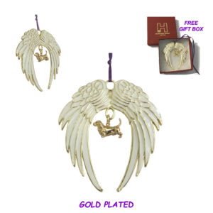 BASSET HOUND A Gold Plated ANGEL WING Memorial Christmas Holiday Ornament