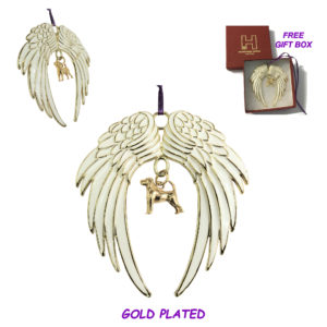BEAGLE Gold Plated ANGEL WING Memorial Christmas Holiday Ornament