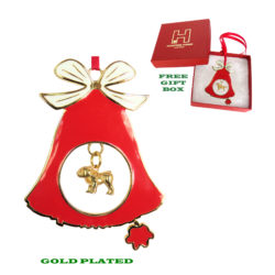 BULLDOG Gold Plated Bronze Christmas Holiday Bell Ornament Decoration