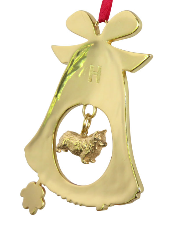 Pembroke Welsh Terrier Gold Plated Bronze Christmas Holiday Bell Ornament Decoration