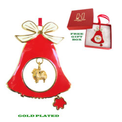 Pomeranian Gold Plated Bronze Christmas Holiday Bell Ornament Decoration