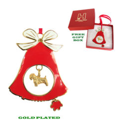 Sealyham Terrier Gold Plated Bronze Christmas Holiday Bell Ornament Decoration