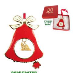 Shih Tzu Gold Plated Bronze Christmas Holiday Bell Ornament Decoration