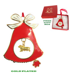 Sussex Spaniel Gold Plated Bronze Christmas Holiday Bell Ornament Decoration