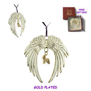 BICHON FRISE Gold Plated ANGEL WING Memorial Christmas Holiday Ornament