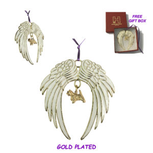 CAIRN TERRIER Gold Plated ANGEL WING Memorial Christmas Holiday Ornament