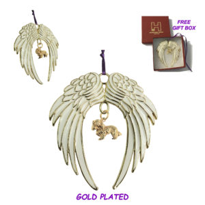 CAVALIER KING CHARLES SPANIEL Gold Plated ANGEL WING Memorial Christmas Holiday Ornament