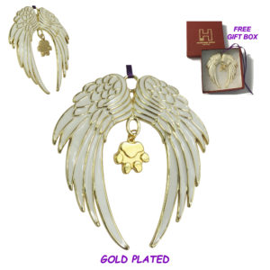 ANGEL DOG PAW Gold Plated Memorial Christmas Holiday Ornament