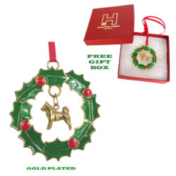 Akita Gold Plated Bronze Christmas Holiday Wreath Ornament Decoration Gift