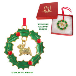 Norwich Terrier Gold Plated Bronze Christmas Holiday Wreath Ornament Decoration Gift