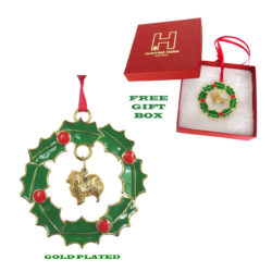 Pomeranian Gold Plated Bronze Christmas Holiday Wreath Ornament Decoration Gift